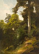 Carl Ludwig Fahrbach Heidelberg, 1835 - Düsseldorf, 1902 Sous-bois Huile sur papier marouflé sur carton,