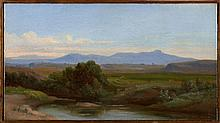 Attribué à Jean-Achille Benouville Paris, 1815 - 1891 Vue du Latium Huile sur toile (Toile d'origine),