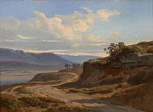 André Giroux Paris, 1801 - 1879 Paysage d'Italie : chemin bordant un fleuve Huile sur papier marouflé sur toile