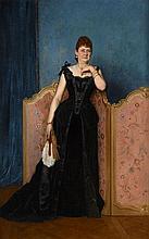 Auguste Toulmouche Nantes, 1829 - Paris, 1890 Portrait d'une élégante en tenue de bal Huile sur toile (Toile d'origine),