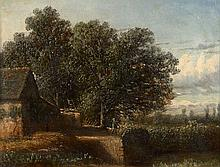 Louis-Evrard Conrad de Kock Né à Saumur vers 1815 Personnage près d'une maison dans un paysage Huile sur toile marouflée sur carton,