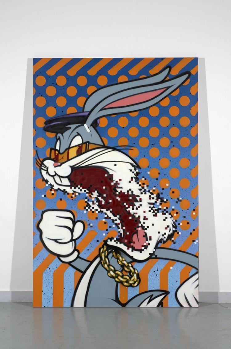 Aroe anglais n en 1970 8 bit bunny 2015 peinture a roso for Peinture acrylique sur toile