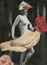 Georges HUGNET 1904 - 1974 Nu au poulet roti Collage