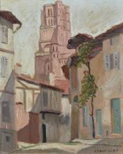 Jean-Jules-Louis CAVAILLES 1901 - 1977 La cathédrale d'Albi Huile sur papier marouflé sur toile
