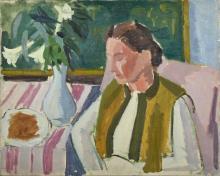 Jean-Jules-Louis CAVAILLES 1901 - 1977 Femme attablée Huile sur toile