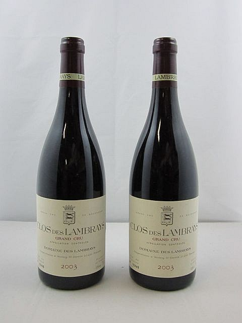 2 bouteilles CLOS DES LAMBRAYS 2003 Grand Cru