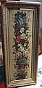 Ecole française du XIXe siècle Guirlande de fleurs Huile sur panneau  52 x 16,50 cm   On y joint une bergère et son troupe...