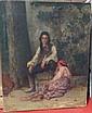 Ecole française, 1876  Couple au pied d'un arbre Huile sur toile Trace de signature et daté en bas à droite 73 x 60 cm  (D...