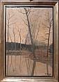 V. Blam Paysage d'étang en hiver Huile sur toile  Signée et datée 'V. Blam. / 33' en bas à droite  74 x 51 cm