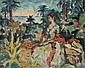Charles Guérin Femme dans un paysage  Huile sur carton Sans cadre