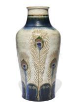 """Auguste DELAHERCHE (1857-1940) Grand vase """"Plumes de paon"""" - Circa 1889"""