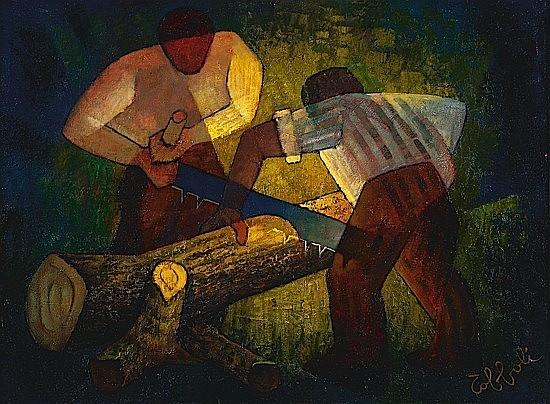Louis TOFFOLI (né en 1907) LES BUCHERONS, 1959 Huile sur toile