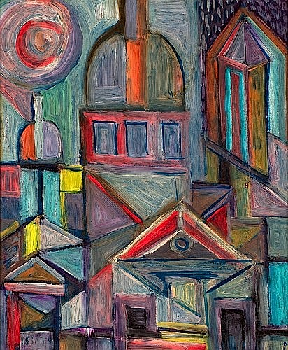 Nicolas ISSAIEV (1891-1977) MONTMARTRE SOUS LA PLUIE Panneau d''isorel