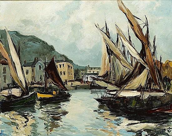 Fernand HERBO (1905-1995) HONFLEUR, LES VOILES Huile sur toile