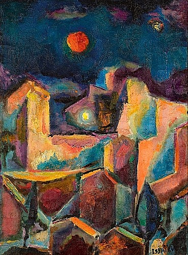 Nicolas ISSAIEV (1891-1977) LA LUNE ROUSSE Huile sur toile