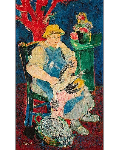 Yvonne MOTTET (1906-1968) FEMME ASSISE Huile sur toile