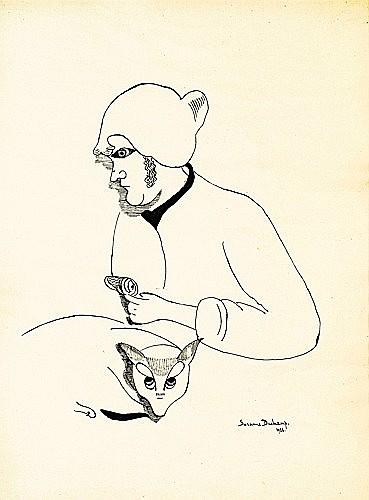 Suzanne DUCHAMP (1889-1963) FEMME AU CHAT, 1922 Dessin à l'encre sur papier