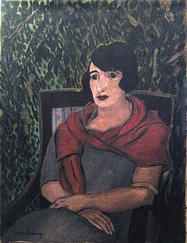 Suzanne DUCHAMP (1889-1963) AUTOPORTRAIT PRESUME, circa 1922 Huile sur toile