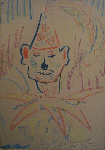 Federico FELLINI (1920 - 1993) CLOWN, 1968 Dessin aux craies de couleurs sur carton beige
