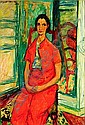 Jacques CHAPIRO (1887-1972) FEMME A LA ROBE ORANGE, 1946 Huile sur toile, Jacques Chapiro, Click for value