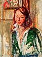 Isaac DOBRINSKY (1891-1973) JEUNE FEMME EN VERT, circa 1950 Huile sur toile, Isaac Dobrinsky, Click for value