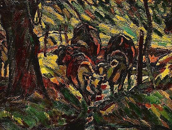 Maurice LOUTREUIL (1885-1925) VACHES A LA RIVIERE, 1923 Huile sur toile