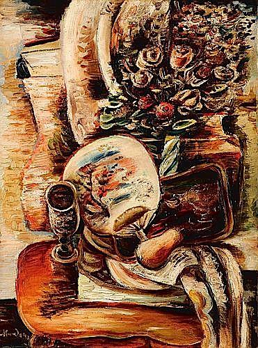 Alfred ABERDAM (1894 - 1963) NATURE MORTE A L'EVENTAIL, circa 1925 Huile sur toile