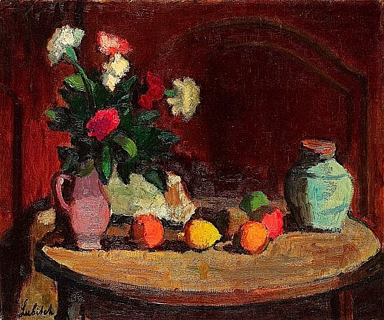 Ossip LUBITCH (1896-1990) NATURE MORTE AUX FLEURS ET FRUITS SUR UNE TABLE, circa 1930 Huile sur toile