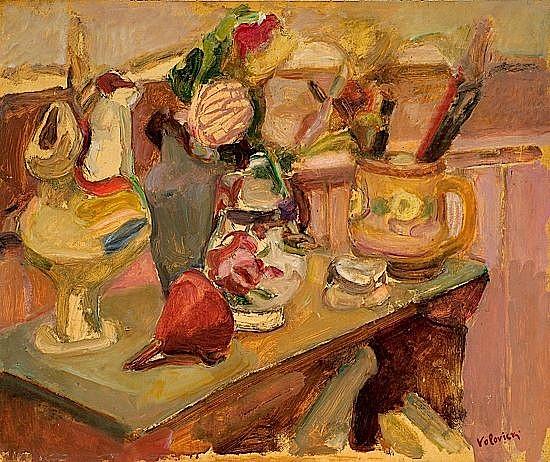 Lazare VOLOVICK (1902-1977) NATURE MORTE AUX FAÏENCES Huile sur carton marouflé sur Isorel