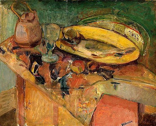 Lazare VOLOVICK (1902-1977) NATURE MORTE AU PLAT JAUNE ET POISSON Huile sur toile