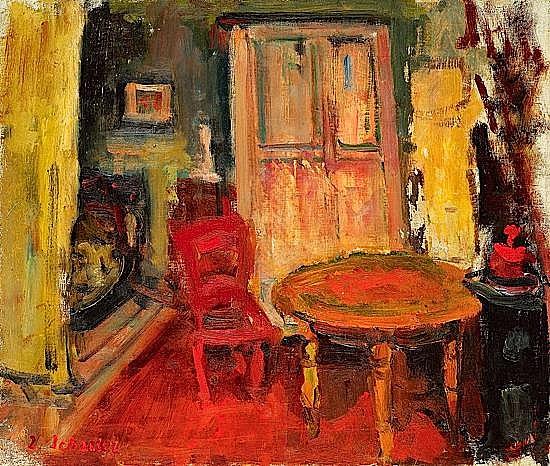 Zygmund SCHRETER (1886-1977) ATELIER, circa 1935 Huile sur toile