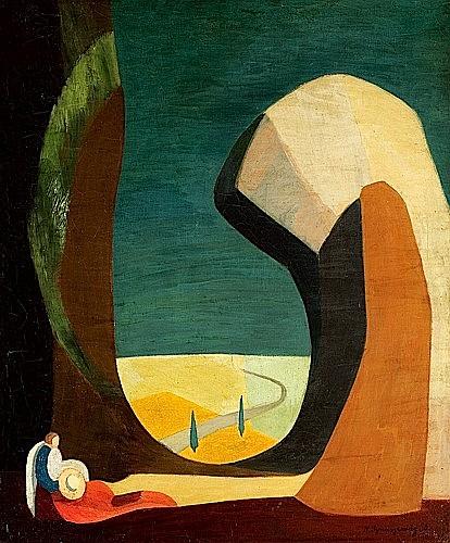 Nechama SZMUSZKOWICZ (1895 - 1977) VOYAGEUR SOLITAIRE, 1930 Huile sur toile