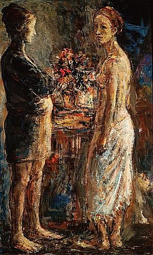 Léopold KRETZ (1907 - 1990) LA MARCHANDE DE FLEURS, circa 1935 Huile sur toile