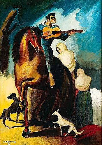 Pedro CREIXAMS (1893-1965) LE CAVALIER GUITARISTE OU LA CHANSON D'AMOUR, 1927 Huile sur toile