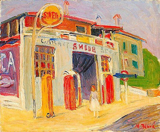 Maurice BLOND (1899-1974) LA STATION D'ESSENCE Huile sur toile