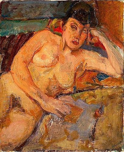 Lazare VOLOVICK (1902-1977) FEMME ACCOUDEE Huile sur toile