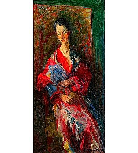 Jacques CHAPIRO (1887-1972) ELEGANTE A LA ROBE ROUGE, 1937 Huile sur toile
