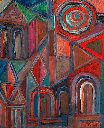 Nicolas ISSAIEV (1891-1977) ARCHITECTURE Huile sur panneau d'isorel