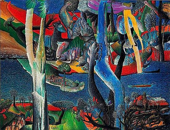 Aristide CAILLAUD (1902-1990) LE JARDIN DES BETES, 1960 Huile sur toile