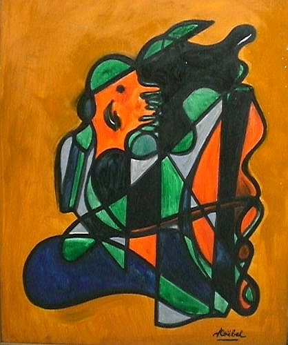 Edgar STOEBEL (né en 1909) FIGURASYNTHESE, FOND ORANGE Huile sur toile