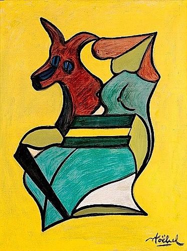 Edgar STOEBEL (né en 1909) FIGURASYNTHESE, ANIMAL ET NU Huile sur toile