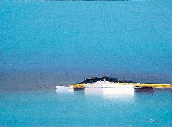 Pierre DOUTRELEAU (né en 1938) REFLETS BLEUS Huile sur toile