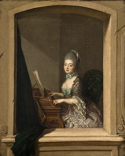 Attribué à Johann Eleazar Zeizig dit Schenau Gross Schonau, vers 1737 - Dresde, 1806 Portrait de jeune femme au piano forte devant u...