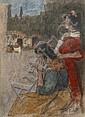 Ramon PICHOT GIRONES (1872 - 1925) GITANES SUR LA PLAZA Aquarelle, pastel, fusain sur papier marouflé sur carton