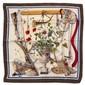 HERMES Paris Carré en soie imprimée, figurant un tableau de chasse, à décor de fleurs et de petits gibiers, signé