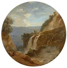 Attribué à Louise-Joséphine Sarazin de Belmont Versailles, 1790 - Paris, 1870 Vue des cascatelles de Tivoli Miniature de forme ronde...