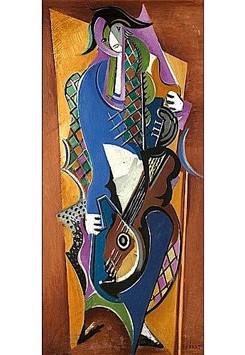 Serge FERAT (1881-1958) ARLEQUIN A LA GUITARE Huile sur toile