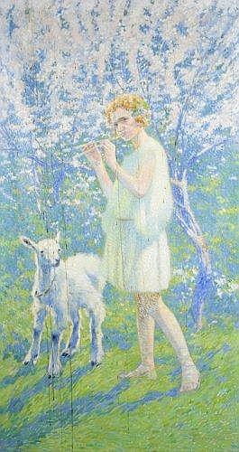 David DELLEPIANE (1866 - 1925) LE JEUNE BERGER, circa 1924 Huile sur toile