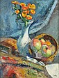 Manuel ORTIZ DE ZARATE (1886-1946) VASE DE FLEURS ET CORBEILLE DE FRUITS Huile sur toile, Manuel Ortiz