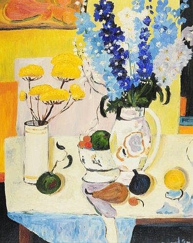 Georges BORGEAUD (1913 - 1998) NATURE MORTE AUX FLEURS ET FRUITS, 1977 Huile sur toile